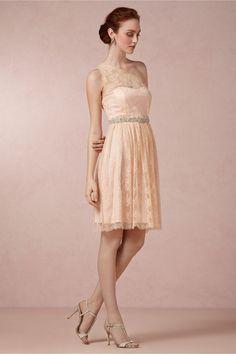 Beautiful short bridesmaid dress. Champagne/Blush. Ariel Dress in Bridal Party & Guests Bridesmaids Dresses at BHLDN
