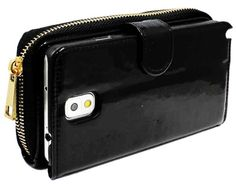 myLife Cool Dark Black {Zipper Pouch Design} Faux Leather (Card, Cash and ID Holder + Magnetic Closing) Slim Wallet for Galaxy Note 3 Smartp...