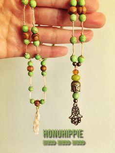 Mala buddha and hamsa hand necklace, boho hippie yoga jewelry by HonuHippie on Etsy https://www.etsy.com/listing/268469559/mala-buddha-and-hamsa-hand-necklace-boho