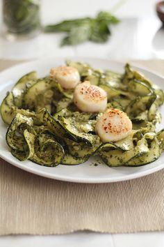 Pesto Zucchini Noodles with Pan-Seared Diver Scallops