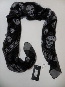 Alexander Scarf Black with White Skulls McQueen   eBay