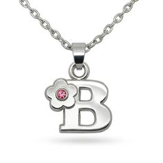 Pink Crystal Flower Letter Initial Alphabet B Fashion Pendant Necklace * Click image to review more details.