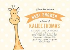 "Customize this cute illustrated giraffe <a class=""crosslink"" href=""https://www.basicinvite.com/baby/baby-shower-invitations.html"" target=""_self"" alt=""Customizable Baby Shower Invites"" title=""Customizable Baby Shower Invites"">Baby Shower</a> invitation! Change all the colors, and personalize it instantly online! Have some fun with it!</p>"