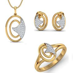 14K Yellow Gold Over .925 Sterling Silver Round Cut White CZ Women's Jewerly Set #adorablejewelry