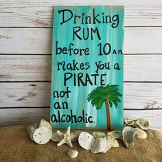 Rum Sign Porch Sign Patio Decor Tiki Bar Unique Gift For Friend Pirate Sign Drinking Rum Sign Pirate Wall Art Pirate Decor by ThePeculiarPelican Pirate Signs, Pirate Decor, Pirate Art, Pool Signs, Beach Signs, Tiki Bar Signs, Patio Signs, Backyard Bar, Patio Bar