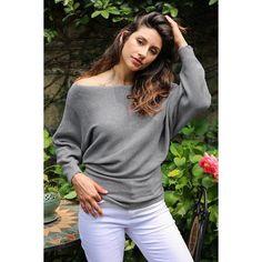 Emma Gray Knit Long Sleeve Pullover Sweater - Bijou Blossoms