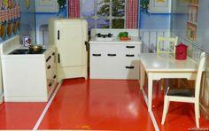 Renwal 6 Pc KITCHEN SET! Vintage Dollhouse Furniture Ideal Marx Tin Plastic 1/16 #Renwal
