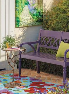 Instantly pop some color into your backyard with a great printed rug.