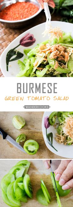 Burmese Green Tomato Salad - Full of the flavours of Myanmar, you can't go past this crunchy salad to zest up your day. | wandercooks.com