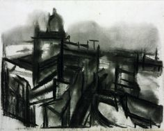 David Bomberg 'St Paul's and River', 1945 © Tate Landscape Drawing For Kids, Landscape Drawings, Cool Landscapes, Harlem Renaissance, Urban Landscape, Landscape Art, Bauhaus, David Bomberg, Ww1 Art