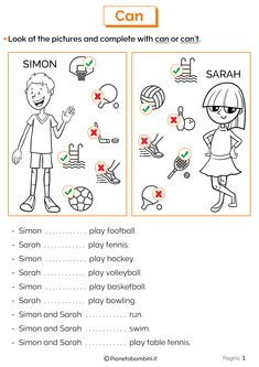 Can-can't - Interactive worksheet English Activities For Kids, English Grammar For Kids, Teaching English Grammar, English Grammar Worksheets, English Reading, English Vocabulary, Learn English For Free, English For Beginners, English Lessons For Kids