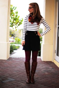 Striped shirt, Scarf, Pencil skirt, colored tights. BOOM.