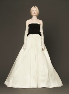 Vera Wang: Light ivory and black strapless gown with diamond quilted bodice, hand draped satin faced silk organza skirt and hand cut silk organza petal accents. Wedding Dress Gallery, Wedding Dresses 2014, Event Dresses, Designer Wedding Dresses, Dress Wedding, Wedding Bride, Lace Wedding, Bridesmaid Dresses, Bridal Collection