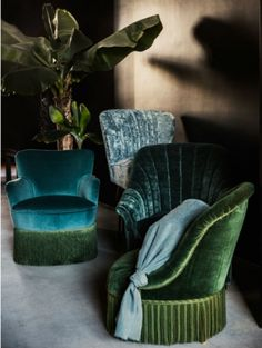 Petrol blue and dark green #velvet #boudoir #chairs by Scotch Collectables (Spring Boutique)