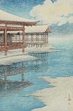 "Japanese Art Print ""Snow at Miyajima (Seiten no Yuki, Miyajima)"" from the Series ""Souvenirs of Travels (2nd Series)"" by Kawase Hasui. Shin Hanga and Art Reproductions http://www.amazon.com/dp/B00ZJPBZ50/ref=cm_sw_r_pi_dp_DAbtwb1KCSXY4"