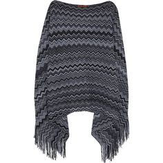 Missoni Crochet-knit wool-blend poncho (420 CAD) ❤ liked on Polyvore featuring outerwear, grey, missoni, grey poncho, missoni poncho and crochet poncho