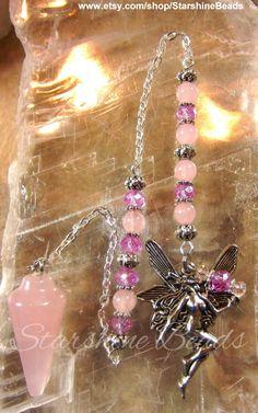 Rose Quartz Fairy Pendulum  Fairy Pendulum Fae by StarshineBeads