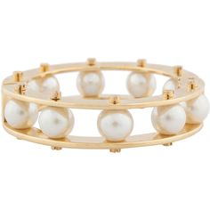 Lele Sadoughi Pearl And Gold Slider Bracelet ($250) ❤ liked on Polyvore featuring jewelry, bracelets, accessories, pearl, yellow gold jewelry, pearl bangle, hinged bangle, gold pearl jewelry and stacking bangles