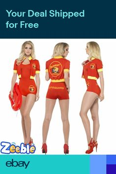 0d65aa8cf3d4 Womens Official Baywatch Lifeguard Fancy Dress 1990s Stag Hen Night Costume