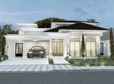 House Plans Mansion, Bungalow House Plans, Bungalow House Design, Flat Roof House, Facade House, Unique House Design, House Front Design, Modern House Facades, Modern House Plans