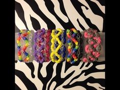Rainbow Loom CROSSED HEARTS Bracelet. Designed and loomed by Sea wolfe. Click photo for YouTube tutorial. 03/28/14