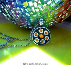Daisies Pendant  Pewter by earthmothermosaics on Etsy, $30.00