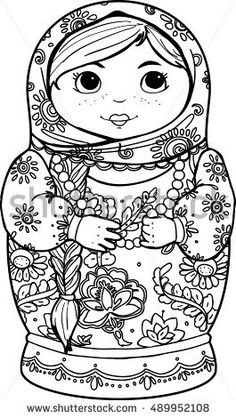 Adult coloring books. Hand-drawn matryoshka nested doll with ethnic floral pattern doodle. Coloring page - design for spiritual relaxation for adults, vector illustration, isolated on white background