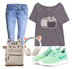 """""""Pusheen"""" by natzumys ❤ liked on Polyvore featuring NIKE"""