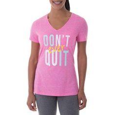 Danskin Now Women\'s Active Fitspiration Short Sleeve Graphic V-Neck T-Shirt, Size: Medium, Orange