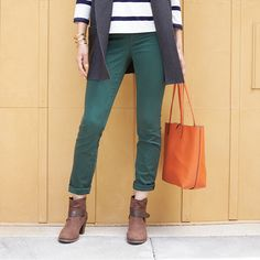 Give your basic blue a break. Sub in autumn's gemstone hues for your go-to skinny jeans this season. Just add classic stripes, a pop bag & ankle booties for an effortless fall look. Liven up your closet with on-trend clothing and accessories, hand-selected just for you by your Stitch Fix Stylist.
