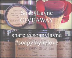 SoapyLayne is having a giveaway on Instagram follow http://Instagram.soapylayne for more details!