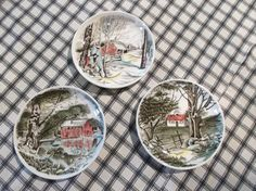 Coasters Set of 3 1960s Johnson Brothers Friendly Village Ceramic Coasters or Butter Pats by LRFoxDesign on Etsy