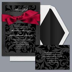 Red Black And White Wedding Invitations PaperInvite