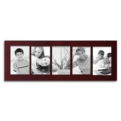 DecentHome Linear Collage Picture Frame, 4 x 6 Inches (5 Openings Cherry Red)