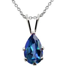 1.00 Ct Pear Shape Neptune Mystic Topaz 925 Sterling Silver Pendant With Chain #Pendant