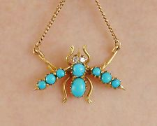 Antique Victorian 9ct Gold Turquoise & Diamond set Bee Pendant Necklace c1895