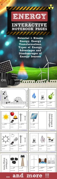 Energy for Science Interactive Notebooks and Journals  - Topics include Potential and Kinetic Energy, Energy Transformations, Energy Types, Advantages and Disadvantages of Energy, Renewable and Non-Renewable Energy and more