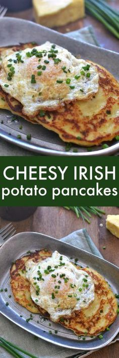Savory Irish Potato Pancakes, loaded with Kerrygold Skellig cheese, fresh chives, and minced garlic for a delicious twist that\'s perfect for breakfast, lunch, or dinner!