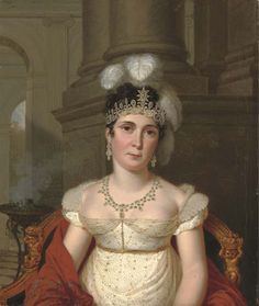 Tiara hairstyle. ca. 1812 Empress Josephine wearing a diamond and turquoise parure, painted by Pierre Louis Bouvier