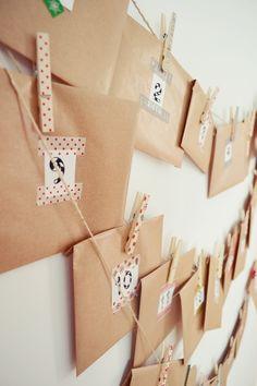 si le mariage n'est pas trop longtemps après l'EVJF, le calendrier de l'avant est une super idée : on répartit tous les jours restants jusqu'à la date du mariage entre les Ginette's girls, et chacune met un petit cadeau (ou ptit mot, photo etc.) dans une enveloppe avec la date écrite dessus : Ginette aura donc un cadeau chaque jour jusqu'au jour J !!