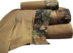 Cabela's: Camo Patchwork Solid Sheet Sets. this would match our camo comforter. :)