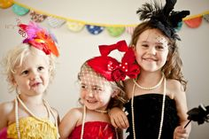 Belle of the ball or princess for a day kids birthday party!  Let them get all glitzed up for some 'girls just wanna have fun' partying :)  All different colors, styles, feathers, rhinestones, netting, felt rosettes, lace! ~ Coco Rose Couture on Etsy