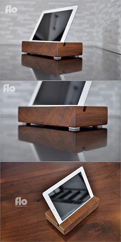 iPad Stand - black walnut by #FLOhardwoods // A stylish display stand for someone who appreciates both form and function.