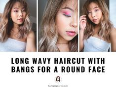 long wavy haircut with bangs for a round face – hair bangs long Curly Hair With Bangs, Curly Hair Cuts, Short Curly Hair, Curly Hair Styles, Hair Bangs, Long Wavy Haircuts, Round Face Haircuts, Haircuts With Bangs, Haircut Long