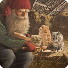 Tomte sharing his porridge with the barn cats