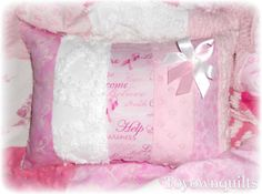 breast cancer quilts | ... Toile Vintage Chenille Breast Cancer Awareness Quilt & Pillow Set