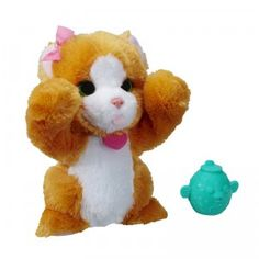 FurReal Friends Lil' Big Paws Peek-a-boo Daisy plays peek-a-boo and makes cat sound effects when you squeeze its belly.
