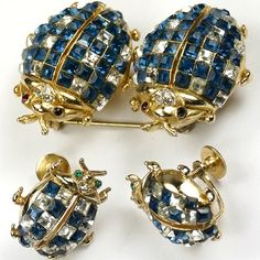Coro Golden Invisibly Set Sapphire and Diamond Ladybugs Duette and Screwback Earrings Set