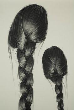hair art The Very Hairy Art of Hong Chun Zhang - Randommization Pencil Art Drawings, Realistic Drawings, Art Drawings Sketches, How To Draw Braids, How To Draw Hair, Hair Illustration, Hair Sketch, Hair Reference, Character Reference