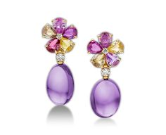 BVLGARI SAPPHIRE FLOWER EARRINGS - 18k yellow gold earrings with fancy sapphires, amethysts, diamonds and pavé diamonds (=)